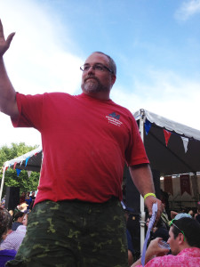 Chris returning from a brisket call at the Harpoon BBQ Championships of NE
